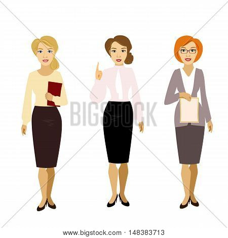 vector illustration of isolated different girl woman teacher skirt suit blouse shirt business assistant secretary glasses teachers day
