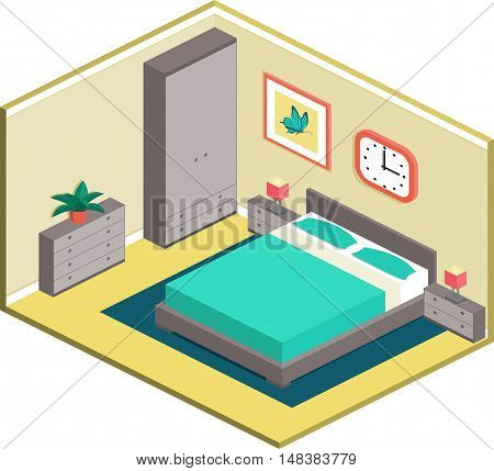Modern design of cozy bedroom with furniture. Interior in isometric style. Vector 3D illustration.