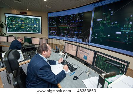 Saint-Petersburg Russia - September 22 2016: Control Point City energy company. Managers control the distribution of energy flows on areas of large cities on the power grid.