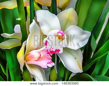 Watercolor pattern tropical flower Orchid. Vibrant illustration with realistic tropical flowers and leaves.Phalaenopsis. Exotic graphic background. Stylized fabulous decorative backdrop.