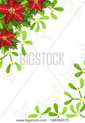 Christmas background with red poinsettia mistletoe and holly leaves decoration elements. Vertical banner with corner decorations and copy space
