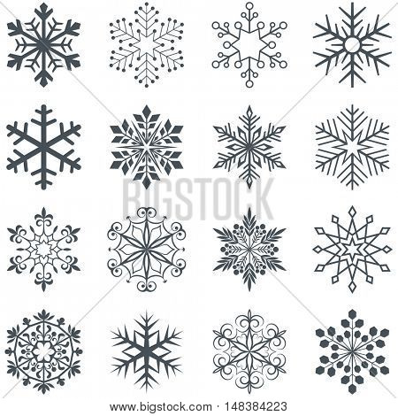 Snowflake shapes vector set isolated on white background. Collection of ornamental abstract snow flakes.