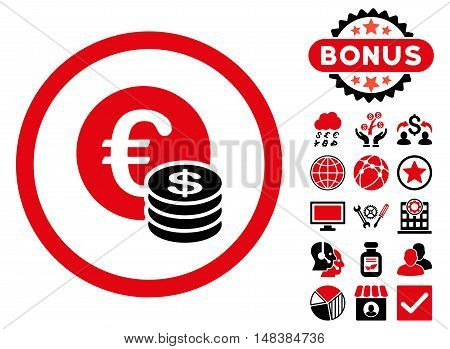 Euro and Dollar Coins icon with bonus pictures. Vector illustration style is flat iconic bicolor symbols intensive red and black colors white background.