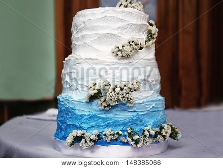 Delicious wedding cake on a table