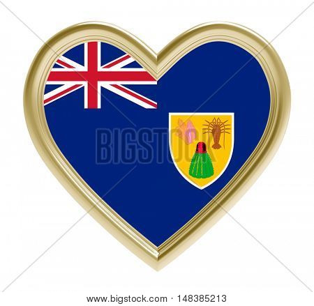Turks and Caicos Islands flag in golden heart isolated on white background. 3D illustration.