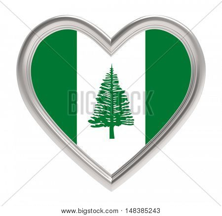 Norfolk Island flag in silver heart isolated on white background. 3D illustration.