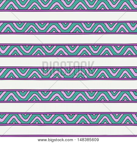 Viking styled tribal seamless vector pattern for background textile wrapping paper and other. Hand-drawn stripes with zig-zag and triangle texture.