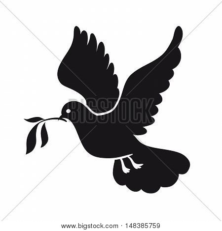 Dove of peace. Pigeon with olive branch. International Day of Peace. Black icon on white background