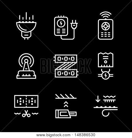 Set line icons of LED equipment isolated on black. Vector illustration
