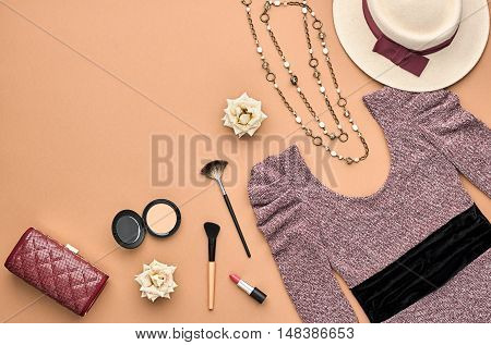 Fashion woman Clothes Accessories Set. Essentials Fashion Cosmetic Makeup. Stylish Lady Dress, Handbag, Glamor Heels, Rose. Trendy fashion Design. Top view. Fall Fashion. Vintage. Cosmetic Overhead