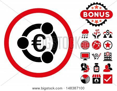 Euro Collaboration icon with bonus pictogram. Vector illustration style is flat iconic bicolor symbols, intensive red and black colors, white background.