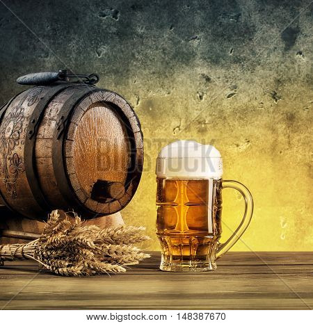 Barrel on stand and mug of beer tinted in yellow and blue