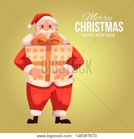 Cartoon style Santa Claus holding a big gift box, Christmas vector greeting card. Full length portrait of Santa holding a large present box on gold background, greeting card template for Christmas eve
