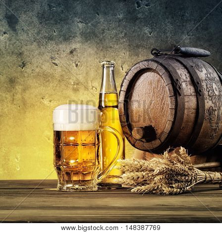 Barrel, ears and mug of beer tinted in yellow and blue