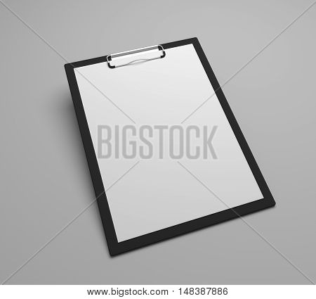 Black clipboard with blank white sheet attached on gray background with shadow. 3D illustration.