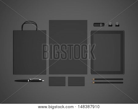 Black 3D illustration mock-up stationery template for branding identity with tablet and shopping bag. For graphic designers presentations and portfolios.