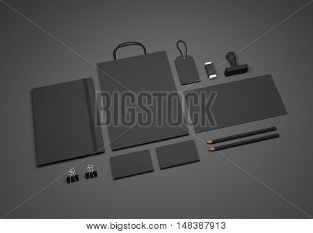 Dark 3D illustration mock-up stationery template for branding identity with shopping bag price tag and envelope. For graphic designers presentations and portfolios.