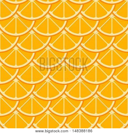 Orange slices vector seamless pattern. Background with natural sweet citrus illustration