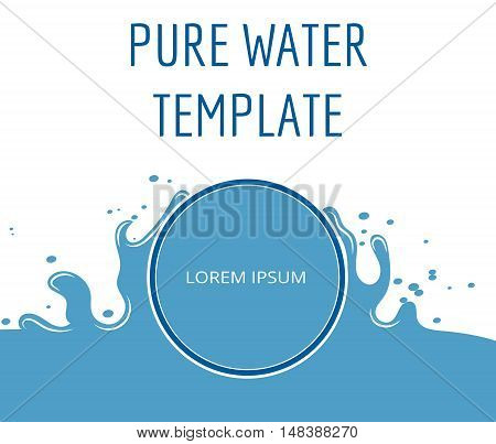 Pure water vector template in blue and white. Clean emblem with drop illustration