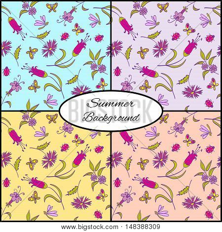 Set Of Four Seamless Floral Summer Patterns