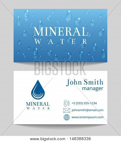 Mineral water delivery business card both sides template. Vector illustration