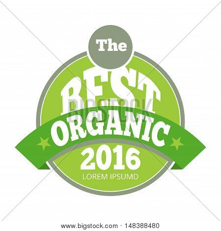 Green organic natural eco label. Best product sticker, vector illustration