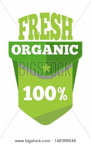 Green organic natural eco label. Fresh bio product, vector illustration