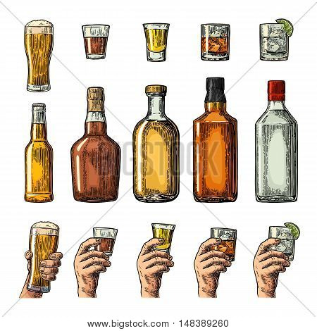 Set alcohol drinks with bottle glass and hand holding beer gin whiskey tequila. Vintage color vector engraving illustration for label poster invitation to party. Isolated on white background