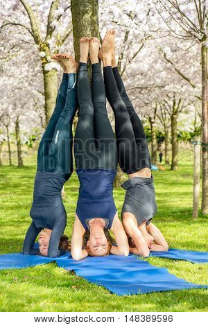 Group of barefoot young women practising yoga - a supported headstand pose.
