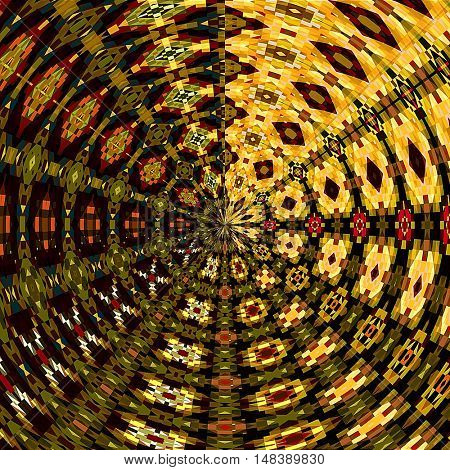 art abstract graphic spherical grunge colored background in green, gold, brown and orange colors; geometric pattern