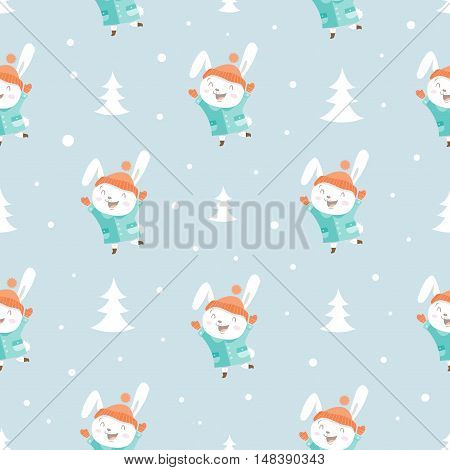 Seamless pattern with cute cartoon hares in coat on blue background. Winter time. Snowy weather in  woods. Funny animals in clothes. Vector image. Children's illustration.
