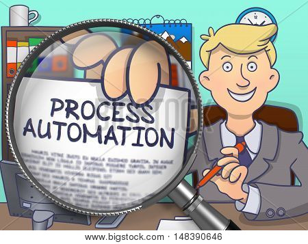 Officeman in Office Workplace Showing a Paper with Inscription Process Automation. Closeup View through Lens. Multicolor Doodle Illustration.