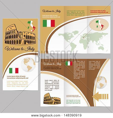 Traveler's guide or banner with italy map and text. vector