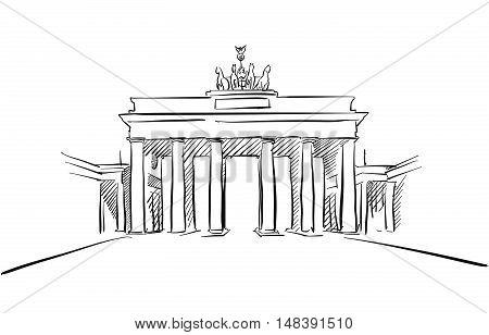 Berlin Brandenburger Gate Greeting Card Sketch