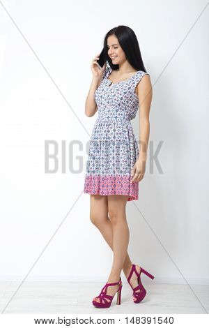 Technological people. Asian young woman using smartphone
