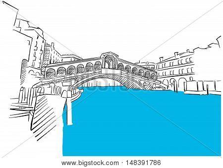 Rialto Bridge Venice And Blue Water Sketch