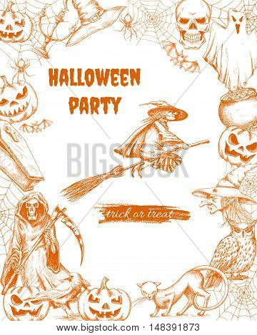 Halloween party elements of pumpkin lantern, witch on broom, cauldron potion, death with scythe, black cat, graveyard cemetery. Halloween engraving sketch characters and elements