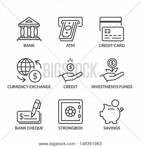 banking icons set thin line black color