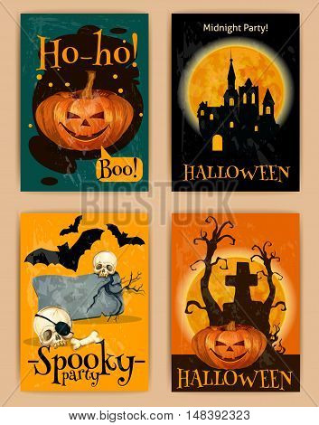 Halloween retro posters. Vector design of invitation placards to October Halloween party with orange pumpkin lantern, haunted castle on full moon background, skeleton skull with crow on cemetery