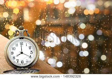 Luxury Vintage Golden Pocket Watch On Wood Over Blurred Light Bokeh Background With Warm Light,abstr
