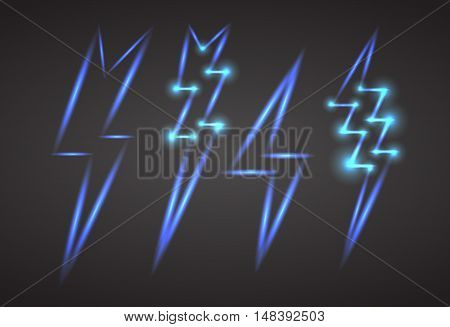 Set of neon lightning with sparks. Vector element for your creativity