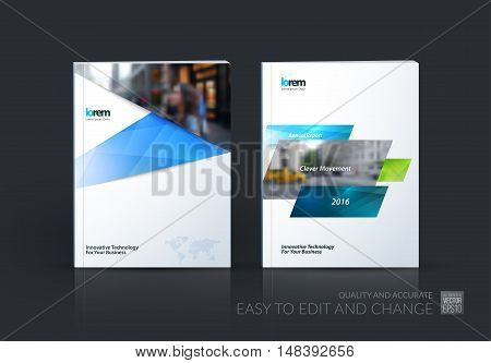 Brochure template layout, cover design annual report, magazine, flyer, leaflet in A4 with blue dynamic rectangles, ribbon with overlap effect for business and hi-tech. Vector creative set.