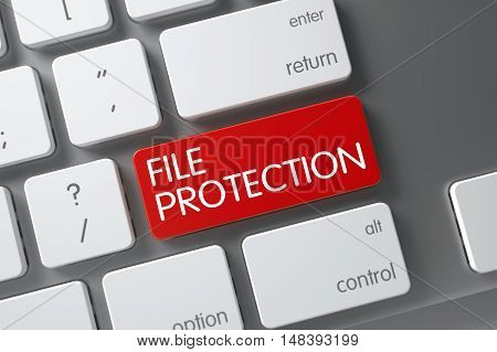 File Protection Concept: Laptop Keyboard with File Protection, Selected Focus on Red Enter Key. 3D Render.