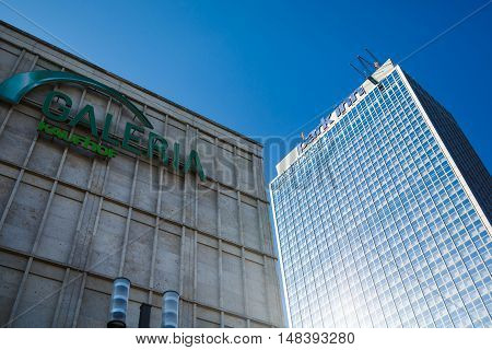 Berlin Germany August 27 2016: View of the tallest buildings of shopping centre and Park Inn Hotel on Alexanderplatz summer time