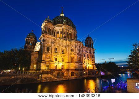 Berlin Germany August 27 2016: View of the Berliner Dome from a promenade at evening time