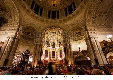 Berlin Germany August 27 2016: People visit the Berliner Dome during the annual Museum Night in summer
