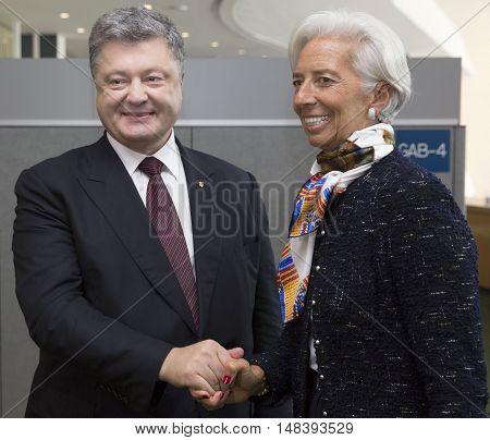 Director Of International Monetary Fund Christine Lagarde And Petro Poroshenko