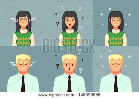 Funny Cartoon Character. Office Worker Calm Angry confused. Vector illustration