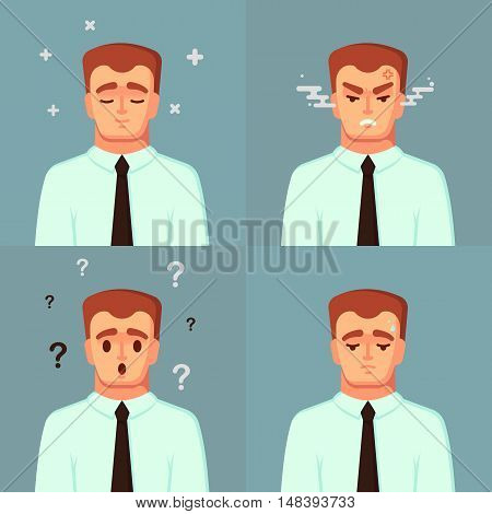 Funny Cartoon Character. Office Worker Calm Sad Angry confused. Vector Illustration