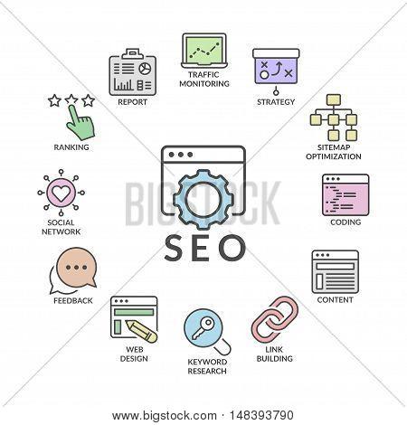 search engine optimization infographic processline icons set flat colors